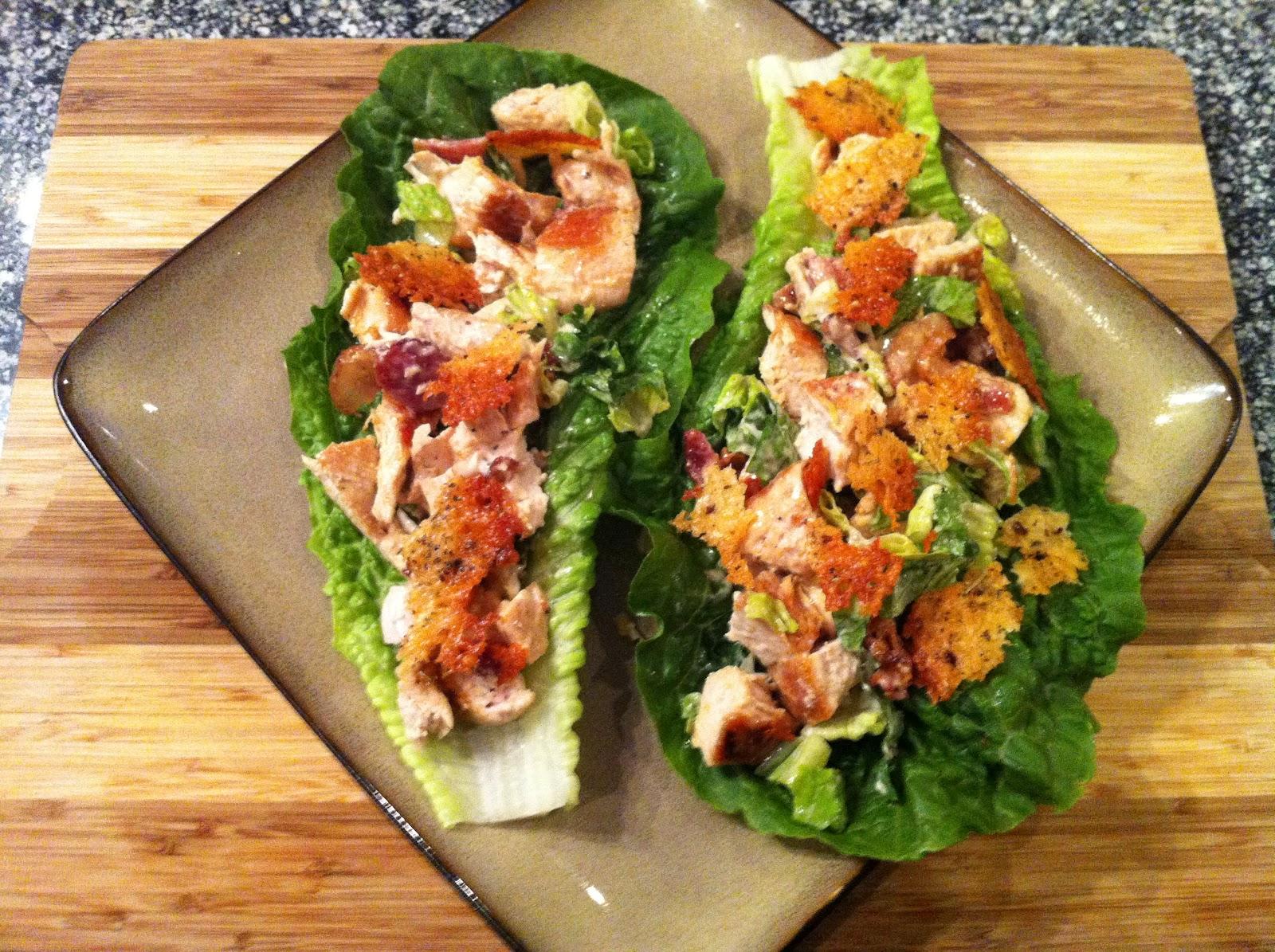 "Chicken Caesar Lettuce Wraps - With Garlic Parmesan ""Croutons"" | Pe..."