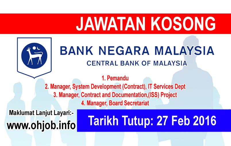 Jawatan Kerja Kosong Bank Negara Malaysia (BNM) logo www.ohjob.info februari 2016