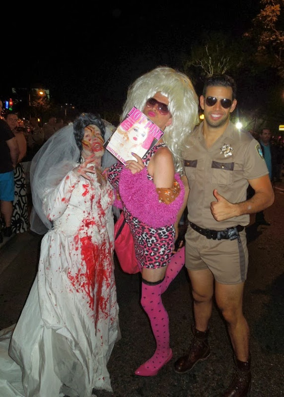 Zombie bride Angelyne Chips costumes West Hollywood Halloween