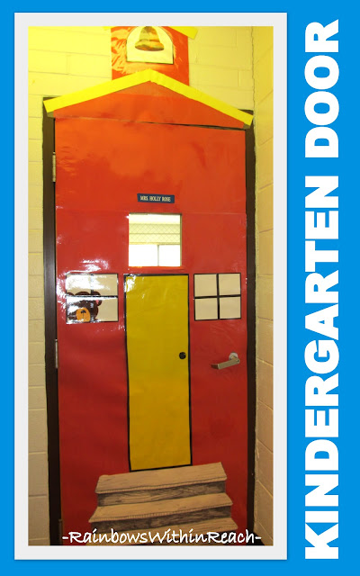 Classroom Door decorated as an old fashioned school, Kindergarten Door Deocration