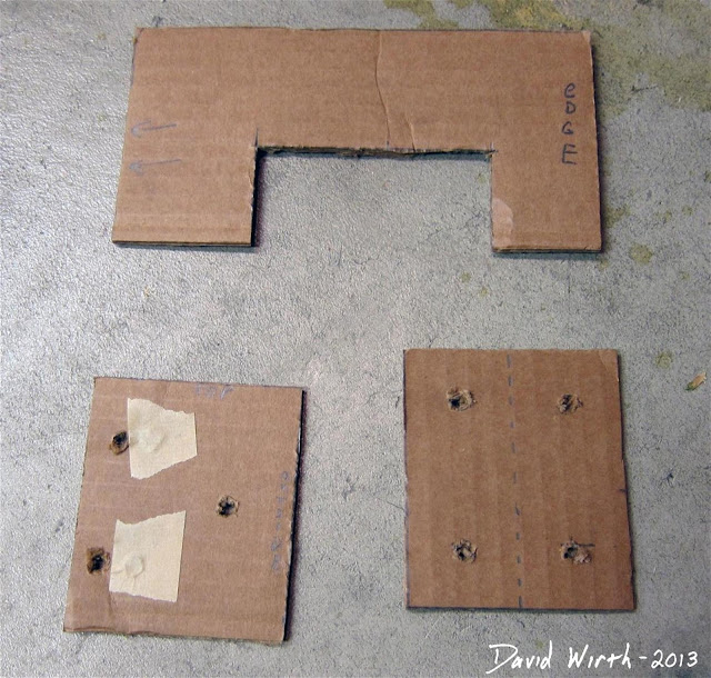 cardboard templates for wood shelf, screw location, cut out