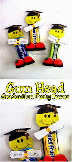 Celebrate the End of School or your child's Graduation with an awesome and unique candy party favor.  This graduation gum head will be the life of the party and add a little bit of fun and sweetness to the end of school.