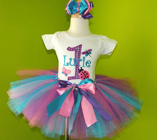 Purple Butterfly Bug Garden Birthday Tutu Outfit