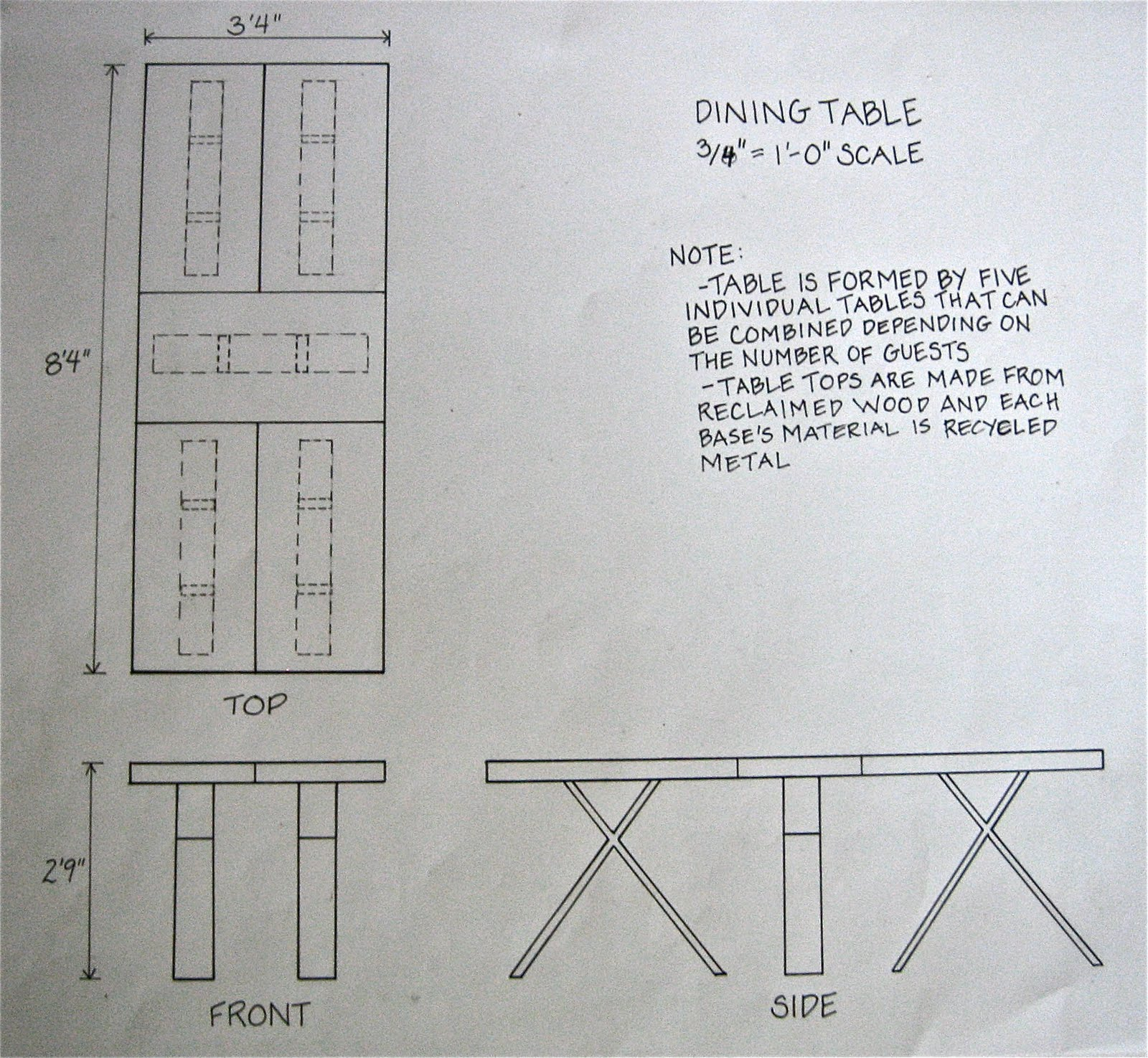 Custom project dining room table plans pdf for Dining room elevation