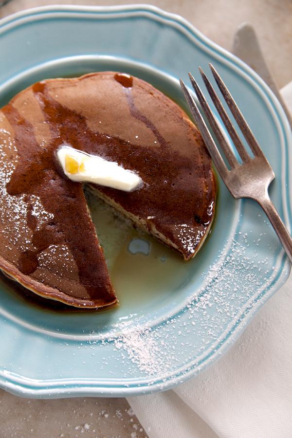 Banana Pancakes On Blue Vintage Plate