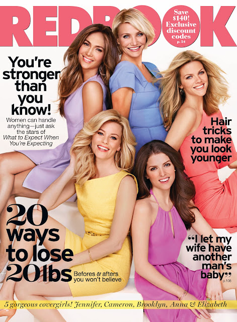 Redbook cover with Jennifer Lopez, Elizabeth Banks, Brooklyn Decker, and Anna Kendrick