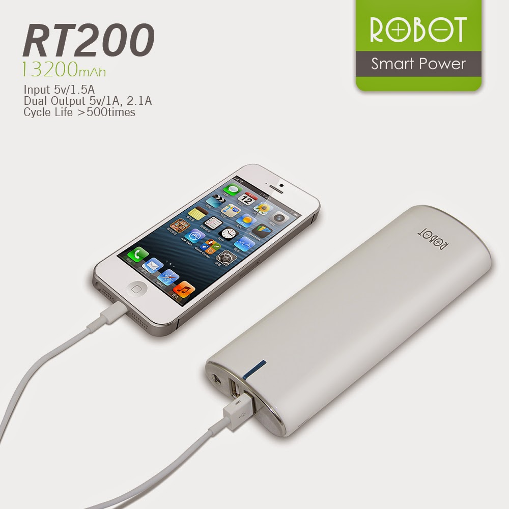 Powerbank Premium Robot Original By Vivan Rda Shop Power Bank Rt800 20000mah