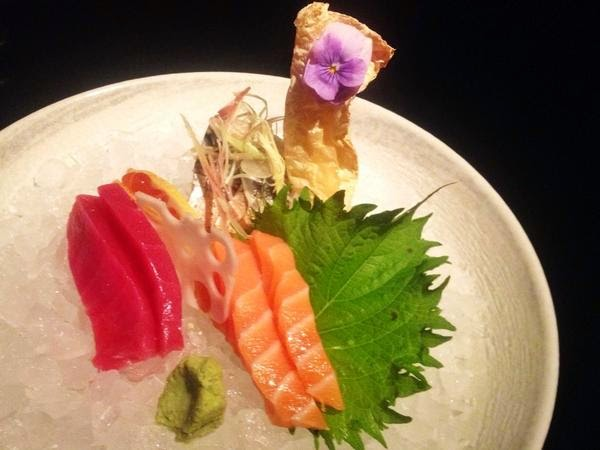 mackerel, tuna and salmon sashimi