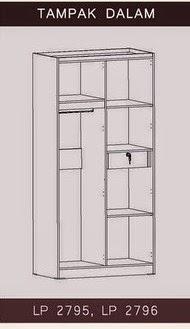 Tampak Dalam Lemari Pakaian 2 Pintu Bougenville Series Graver Furniture