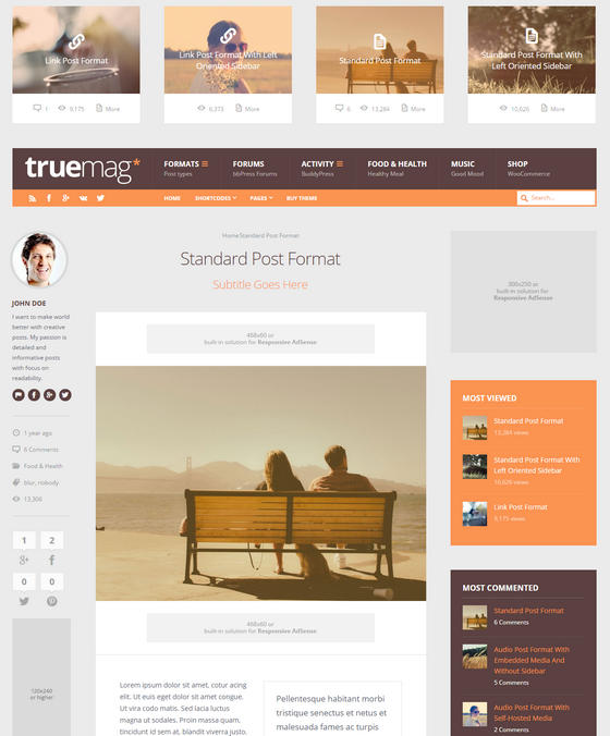 Truemag: AD & AdSense Optimized Magazine