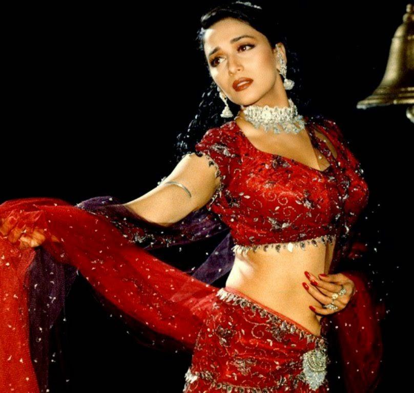 Madhuri Dixit Sexy Bollywood Actress With Red Saree Photos Free Download