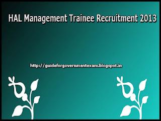 HAL Management Trainee Recruitment 2013