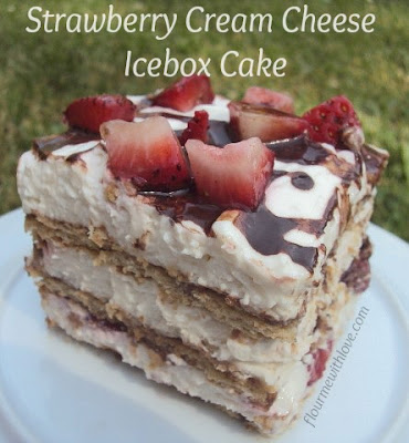 Strawberry Cream Cheese Icebox Cake Recipe with Chocolate Syrup