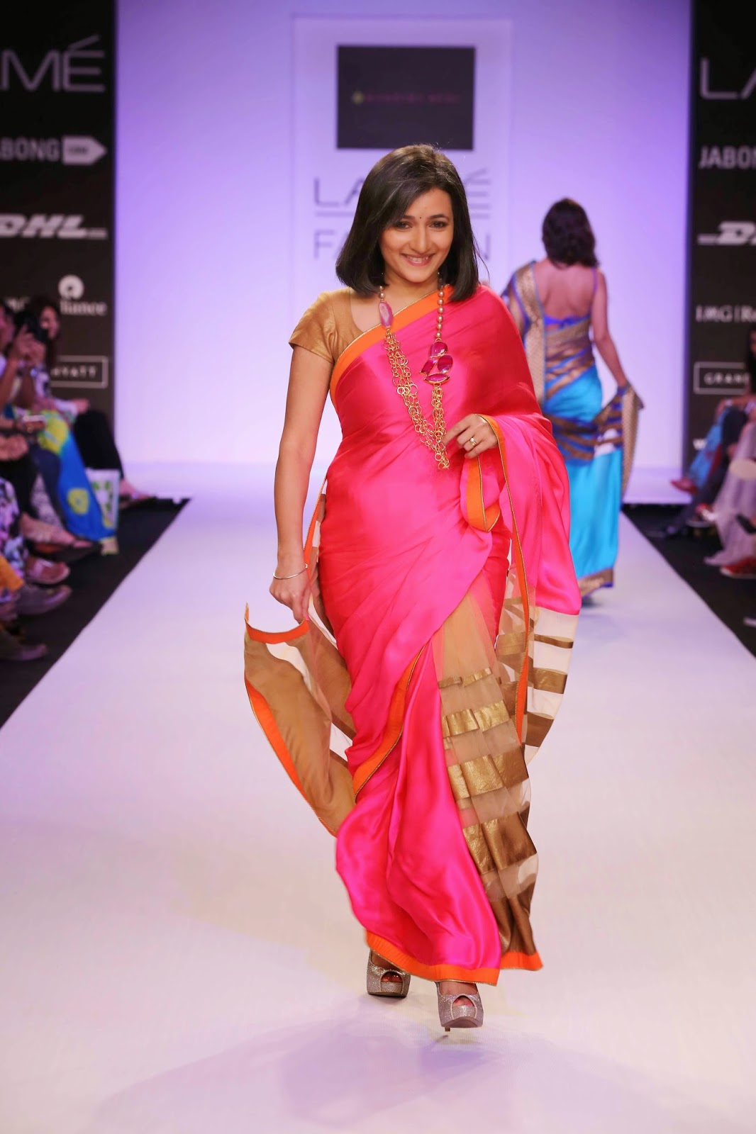 It was a parade of real life superstars wearing real life saris.