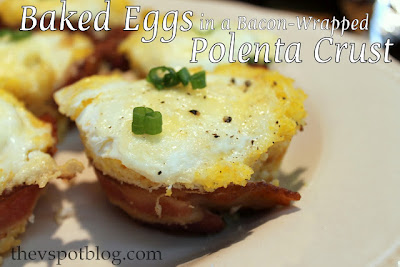baked eggs, recipe, bacon, cheese, polenta breakfast, brunch, green onions