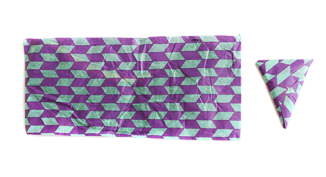 packages with purple and turquoise geometric print paper
