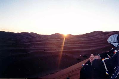 dunas del desierto, puesta de sol