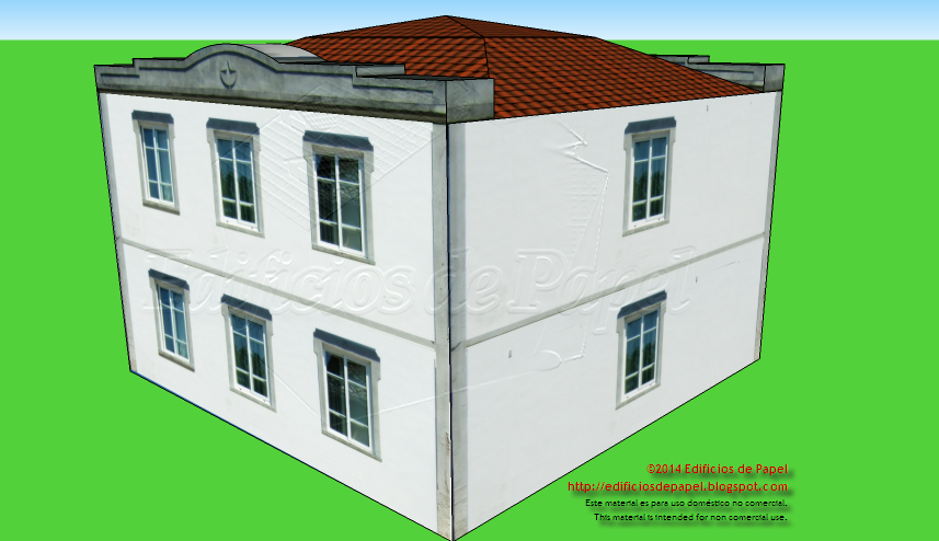 Back façade of the Galician Manor paper model
