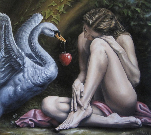 eve's temptation,surrealism painting,garden of eden
