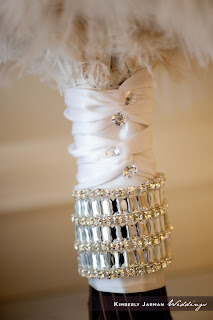 Rhinestone handle on bridal bouquet by Cactus Flower