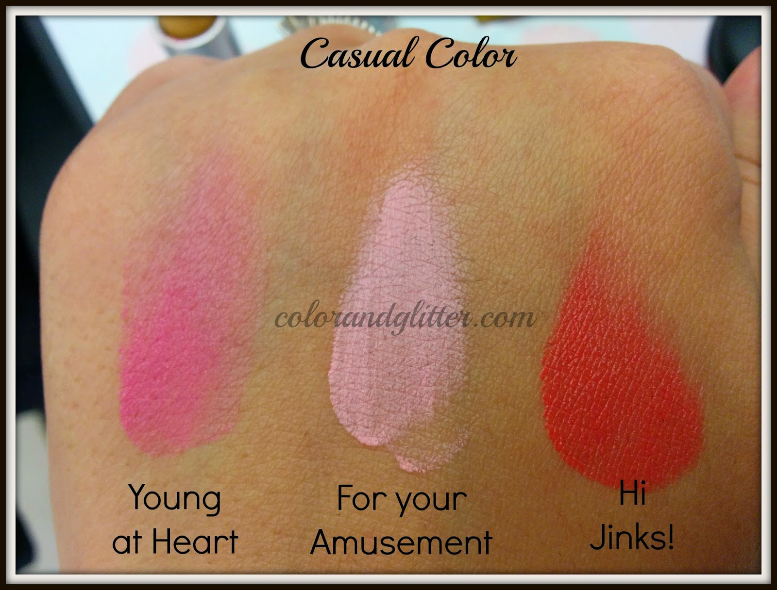 M·A·C Playland collection tinted Casual Colour Swatches