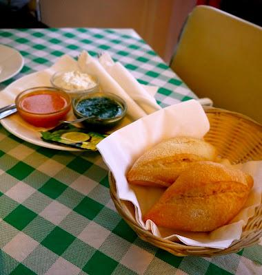 Bread, alioli and mojo sauce