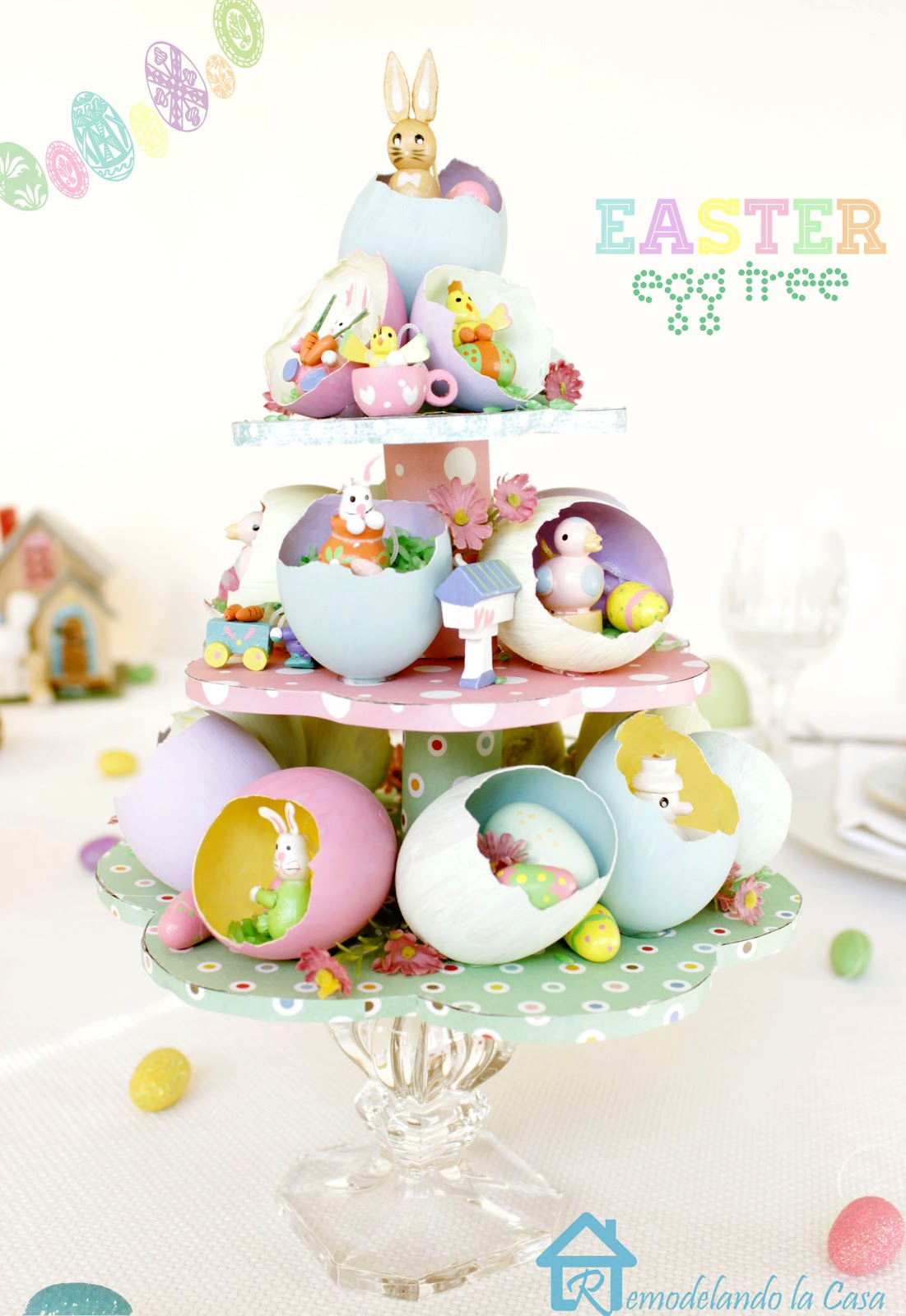 Egg shells repurposed as an Easter egg tree centerpiece.
