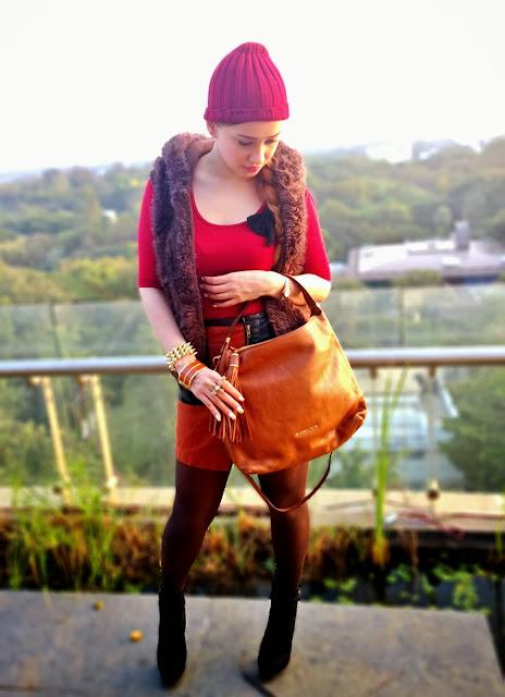 Oxblood Top, Faux Fur Vest,Faux Leather Skirt, Michael Kors Bag