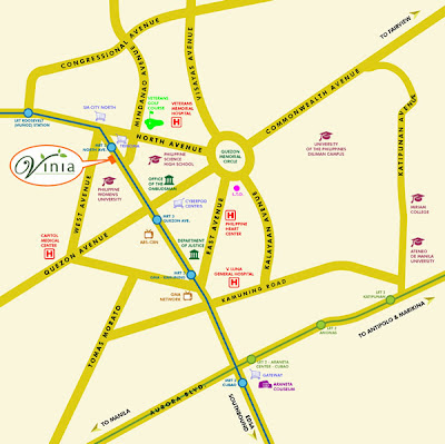 Vinia Residences + Versaflats EDSA across Trinoma Location Map, Condominium for sale in Quezon City, Filinvest