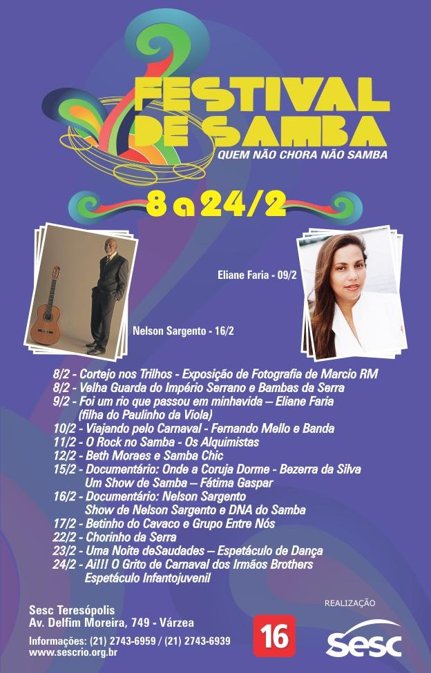 1ª Festival de Samba Sesc Teresópolis - de 08 à 24/02/13-Quem Não Chora Não Samba