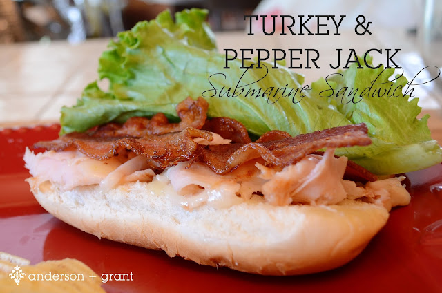 Want to try a different type of hot sandwich?  Check out this delicious sub filled with turkey, pepper jack cheese, and bacon.  Yum!  |  www.andersonandgrant.com
