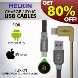 Buy Melkin USB Charge / Sync Cable for Android and iPhone Devices at Flat 55 % Off + Extra Rs.250 off : Buy To Earn