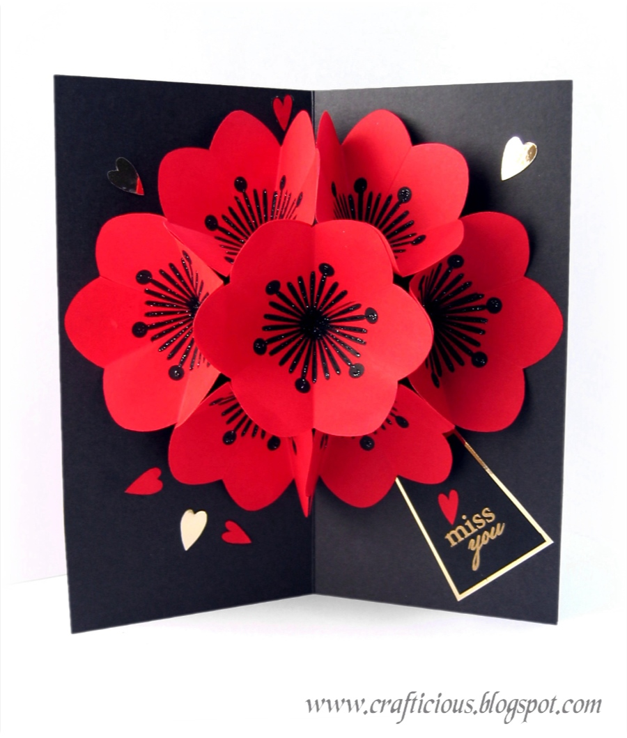Crafticious Pop Up Card Valentine Flowers