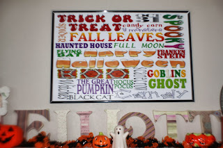 Halloween Fall Mantel with Subway Art Printable