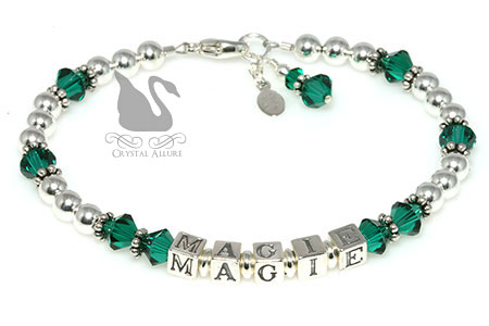 Customizable Crystal Birthstone Name Bracelet (B050)