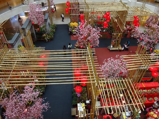 Top view of Chinese New Year shopping mall decoration at Mid Valley Mall in Kuala Lumpur, Malaysia