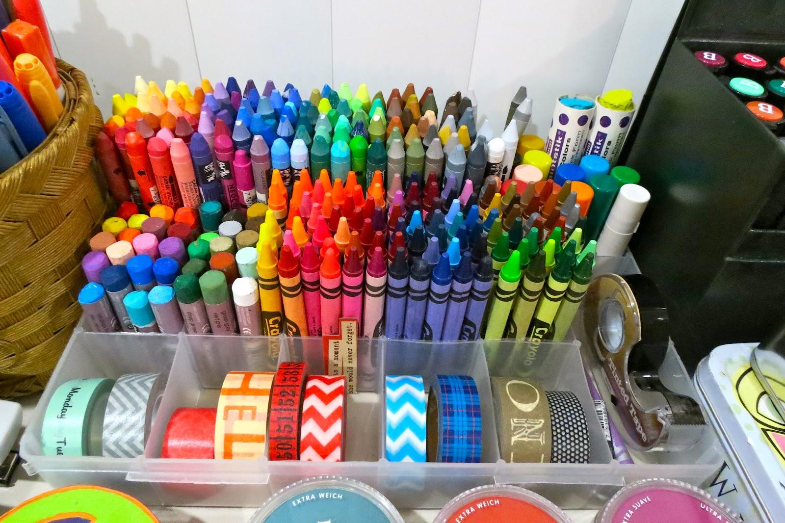 inspiration everywhere new scrap desk and crayon organization
