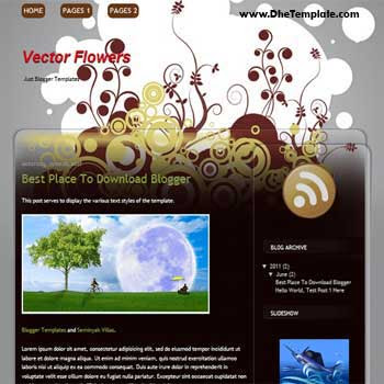 Vector Flower Blogger Template. beautiful template with flower background