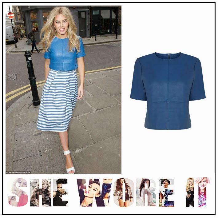 The Saturday's, Mollie King, Oasis Fashion, Bright Colbolt Blue, Structured, Leather, Crop Top, Panelling Detail,  High Round Neckline