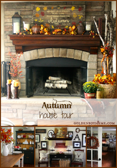 Fall Home Tour with hand painted and stenciled pallet sign, birch logs, gallery wall and corner stone fireplace via www.goldenboysandme.com