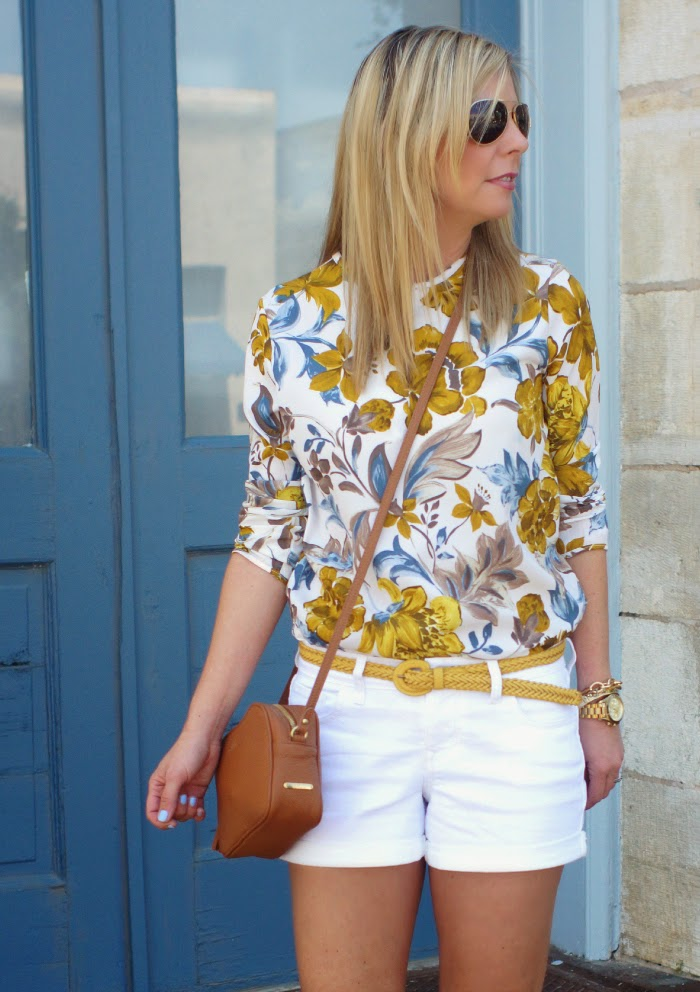 Mustard Floral Top for Spring