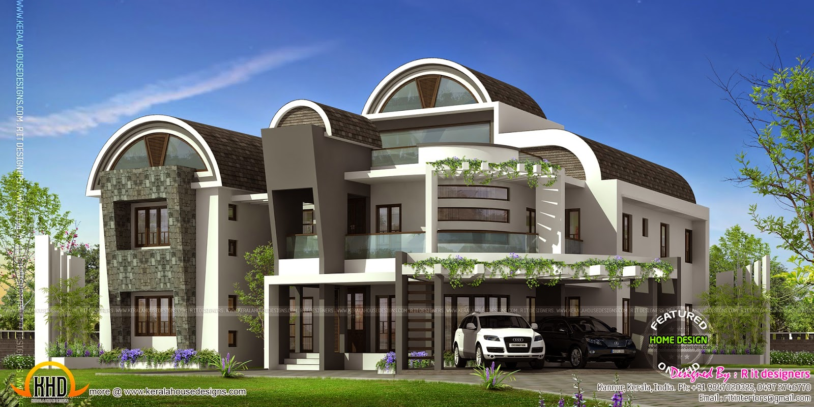 Ultra modern house kerala home design and floor plans for Unique front elevation