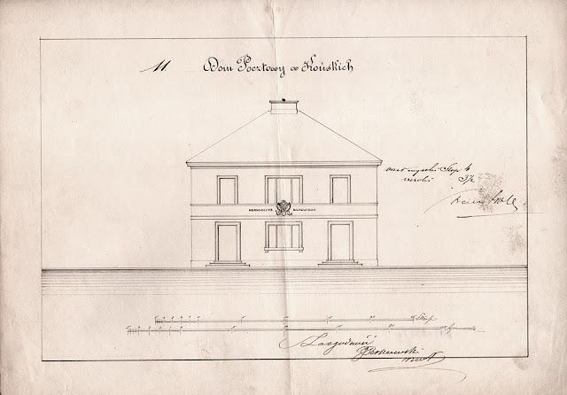 Dom pocztowy w Końskich, projekt z 1821 r.  Ze zbiorów Muzeum Poczt i Telegrafów we Wrocławiu.