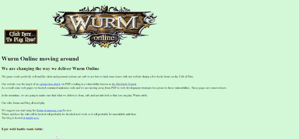 Wurm Online SQL Injection