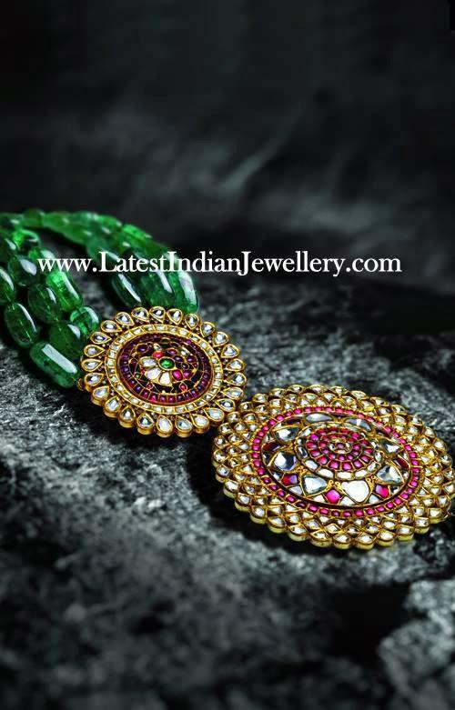 Emerald Beads Kundan Meenakari Pendant