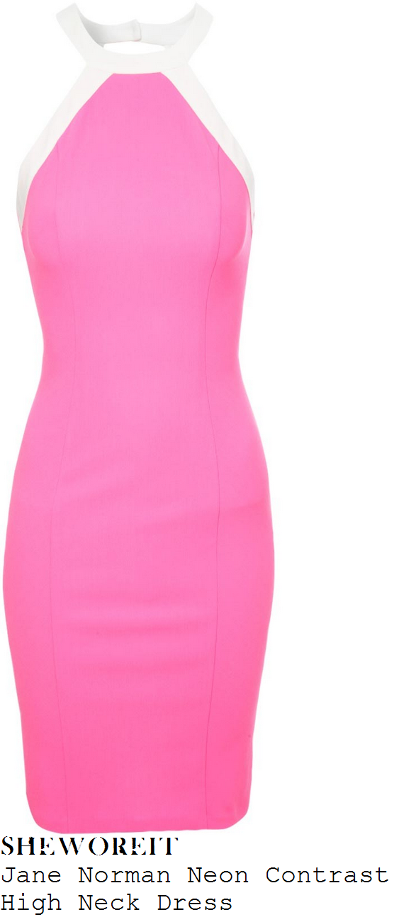 sam-faiers-neon-pink-white-halterneck-dress
