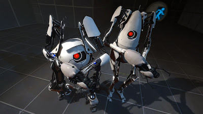 The two robots, Atlas and P-Body, that are playable in the co-op mode.
