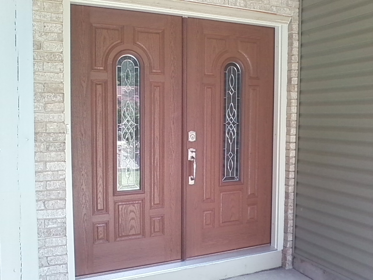 960 #7D594E  Front Entry Doors Double Front Fiberglass Entry Door Home Front wallpaper Masonite Fiberglass Exterior Doors 43651280