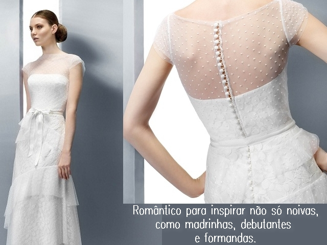 Modelo de vestido com transparência sobre tomara-que-caia