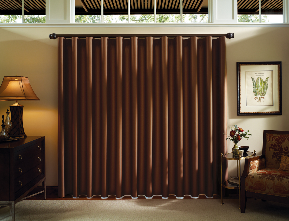 Bruton 39 s decorating profile luminette privacy sheers modern draperies - Sliding back door curtains ...